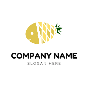 Yellow Pineapple and Fish logo design