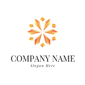Yellow Polaris Shape Floral Diamond logo design