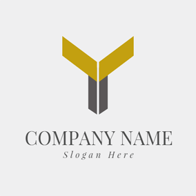 Yellow Polygon and Letter Y logo design