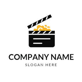 Yellow Popcorn and Black Clapperboard logo design