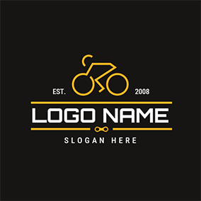 Yellow Racer and Bicycle logo design