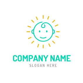 Yellow Radiance and Cute Children logo design