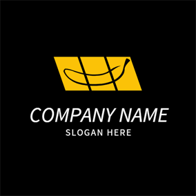 Yellow Rectangle and Banana logo design