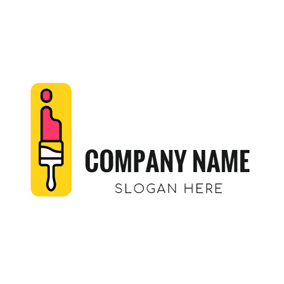 Yellow Rectangle and Paint Brush logo design