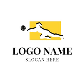 Yellow Rectangle and White Athlete logo design