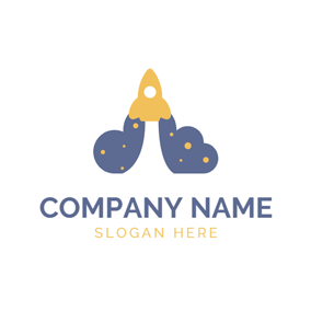 Yellow Rocket and Blue Space logo design