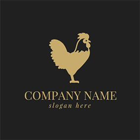 Yellow Rooster Chicken Icon logo design