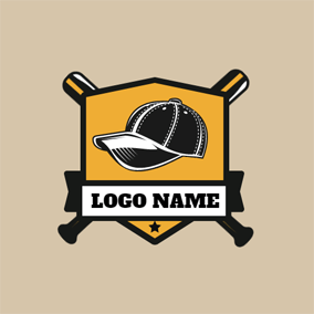 Yellow Shield and Baseball Hat logo design