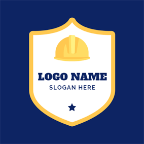 Yellow Shield and Safety Helmet logo design