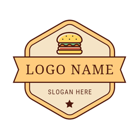 Yellow Signboard and Colorful Hamburger logo design