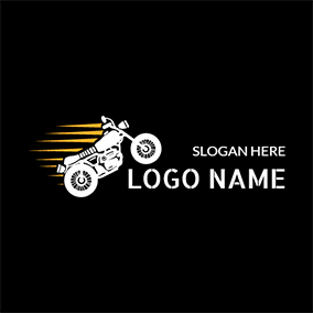 Yellow Speed and White Motorcycle Icon logo design