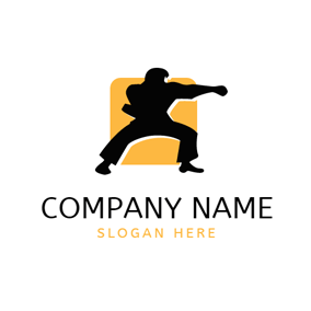 Yellow Square and Black Karate logo design