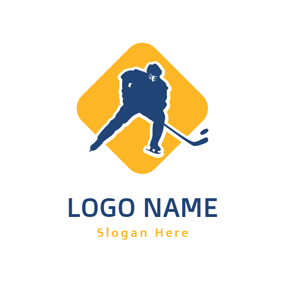 Yellow Square and Blue Hockey Player logo design