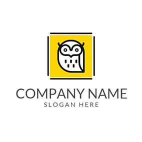 Yellow Square and Cartoon Owl logo design
