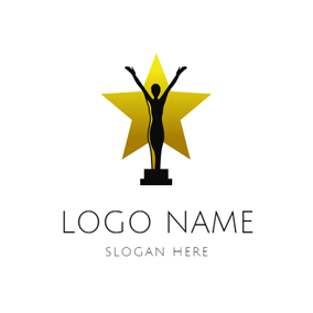 Yellow Star and Actor Trophy logo design