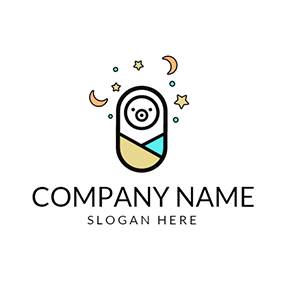 Yellow Star and Cute Baby logo design