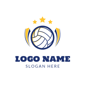 Yellow Star and White Volleyball logo design