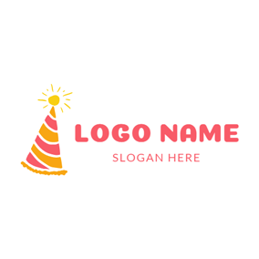 Yellow Sun and Birthday Hat logo design