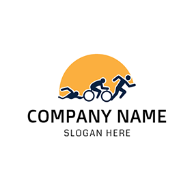 Yellow Sun and Black Triathlete logo design