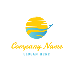 Yellow Sun and Blue Airplane logo design