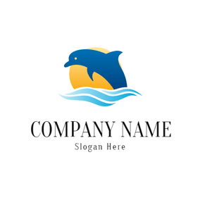 Yellow Sun and Blue Dolphin logo design