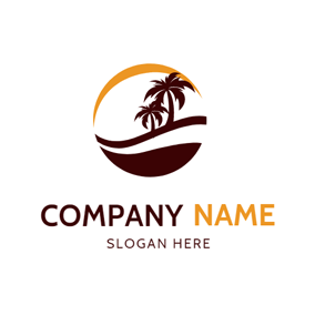 Yellow Sun and Brown Beach logo design
