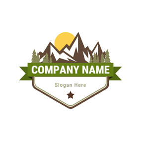 Yellow Sun and Brown Mountain logo design