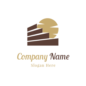 Yellow Sun and Brown Stair logo design