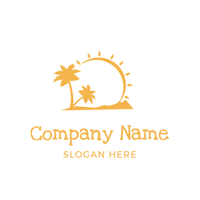 Yellow Sun and Coconut Tree logo design