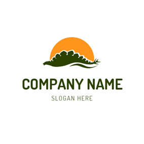 Yellow Sun and Dinosaur logo design