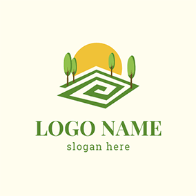 Yellow Sun and Green Tree logo design