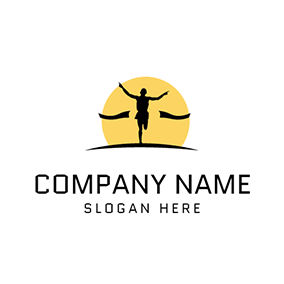 Yellow Sun and Marathon Runner logo design