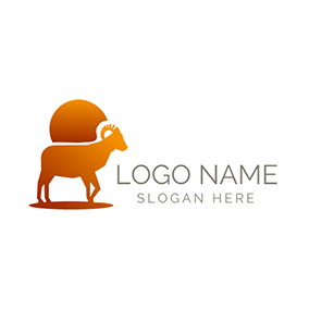 Yellow Sun and Ram Icon logo design