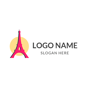 Yellow Sun and Red Eiffel Tower logo design
