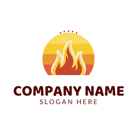 Yellow Sun and Red Fire logo design