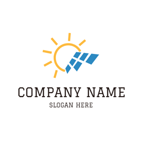 Yellow Sun and Solar Panel logo design