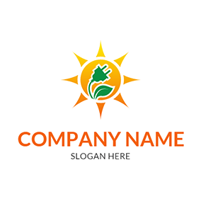 Yellow Sun Leaf Plug Solar logo design