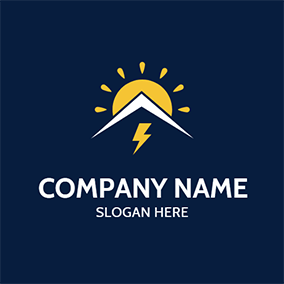 Yellow Sun Lightning Roof logo design