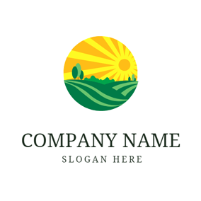Yellow Sunlight and Green Grassland logo design