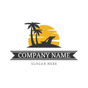Yellow Sunset and Black Beach logo design