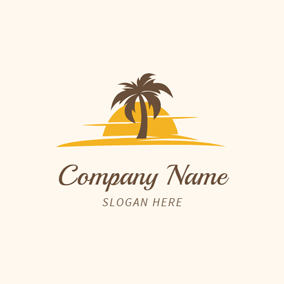 Yellow Sunset and Brown Tree logo design