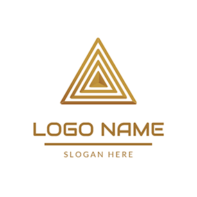 Yellow Surrounded Triangle Pyramid logo design