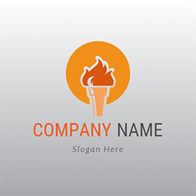 Yellow Torch and Fire Flame logo design