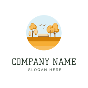 Yellow Tree and Bench logo design