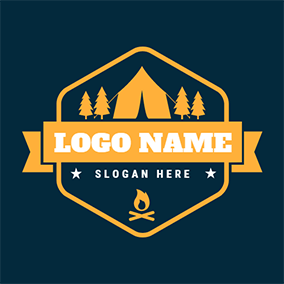 Yellow Tree and Tent logo design