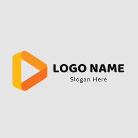 Yellow Triangle and Ribbon logo design