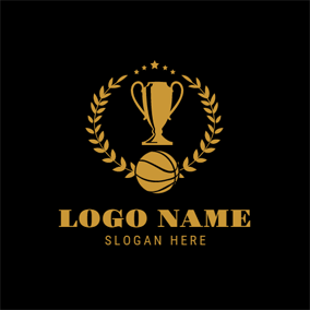 Yellow Trophy and Basketball logo design