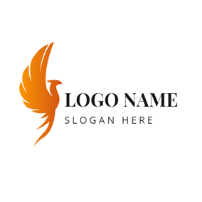 Yellow Volant Phoenix logo design