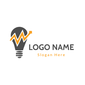 Yellow Wavy Line and Brownness Bulb logo design