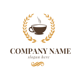 Yellow Wheat and Brown Coffee logo design